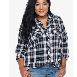 Torrid plaid button down shirt with studs